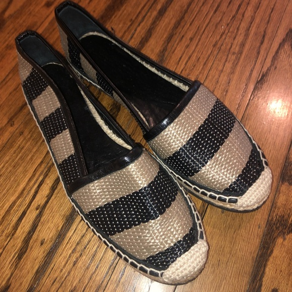 Burberry Shoes - Burberry Hodgeson Raffia Striped Espadrille Flats
